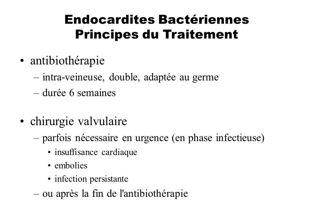 Endocardites Bactériennes Principes du Traitement antibiothérapie –intra-veineuse, double, adaptée au germe –durée 6 semaines chirurgie valvulaire –pa