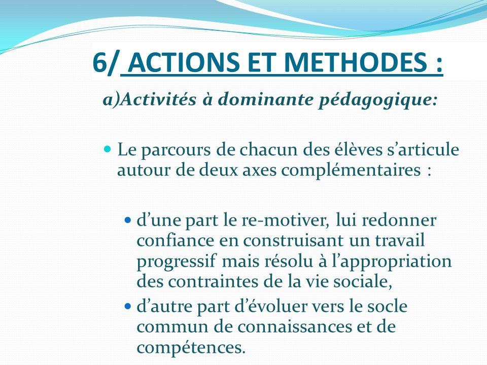 6/ ACTIONS ET METHODES : a)Activités à dominante pédagogique: Le parcours de chacun des élèves sarticule autour de deux axes complémentaires : dune pa