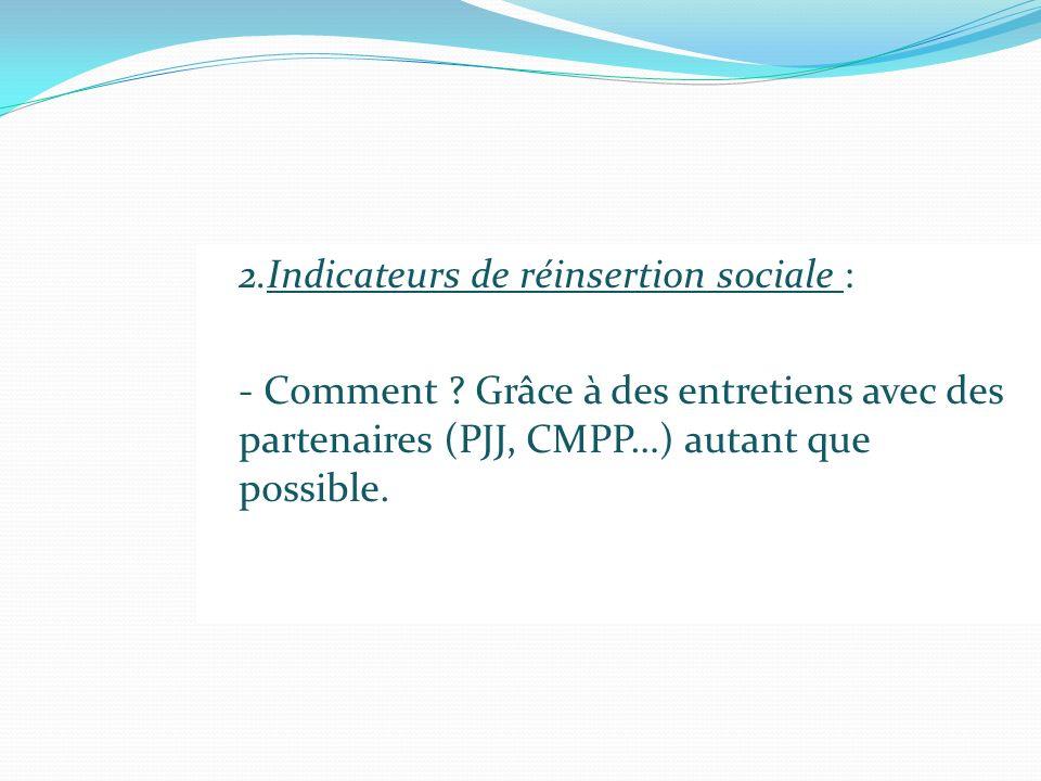 2.Indicateurs de réinsertion sociale : - Comment ? Grâce à des entretiens avec des partenaires (PJJ, CMPP…) autant que possible.
