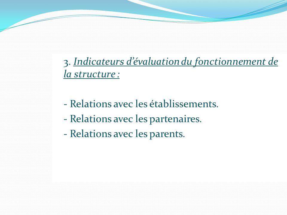 3. Indicateurs dévaluation du fonctionnement de la structure : - Relations avec les établissements. - Relations avec les partenaires. - Relations avec