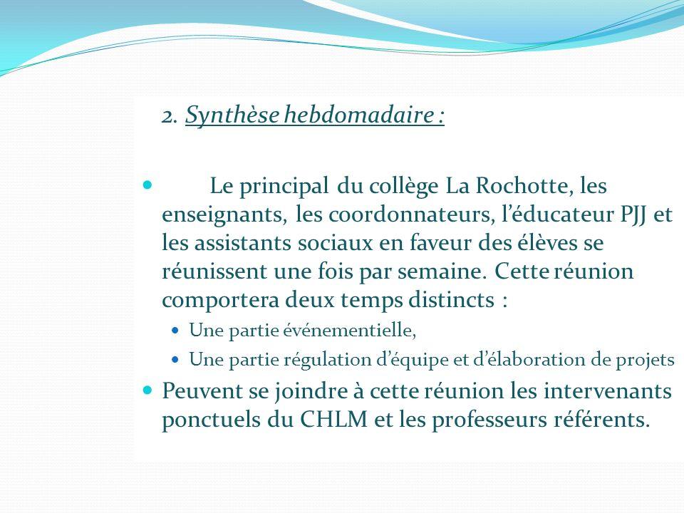 2. Synthèse hebdomadaire : Le principal du collège La Rochotte, les enseignants, les coordonnateurs, léducateur PJJ et les assistants sociaux en faveu