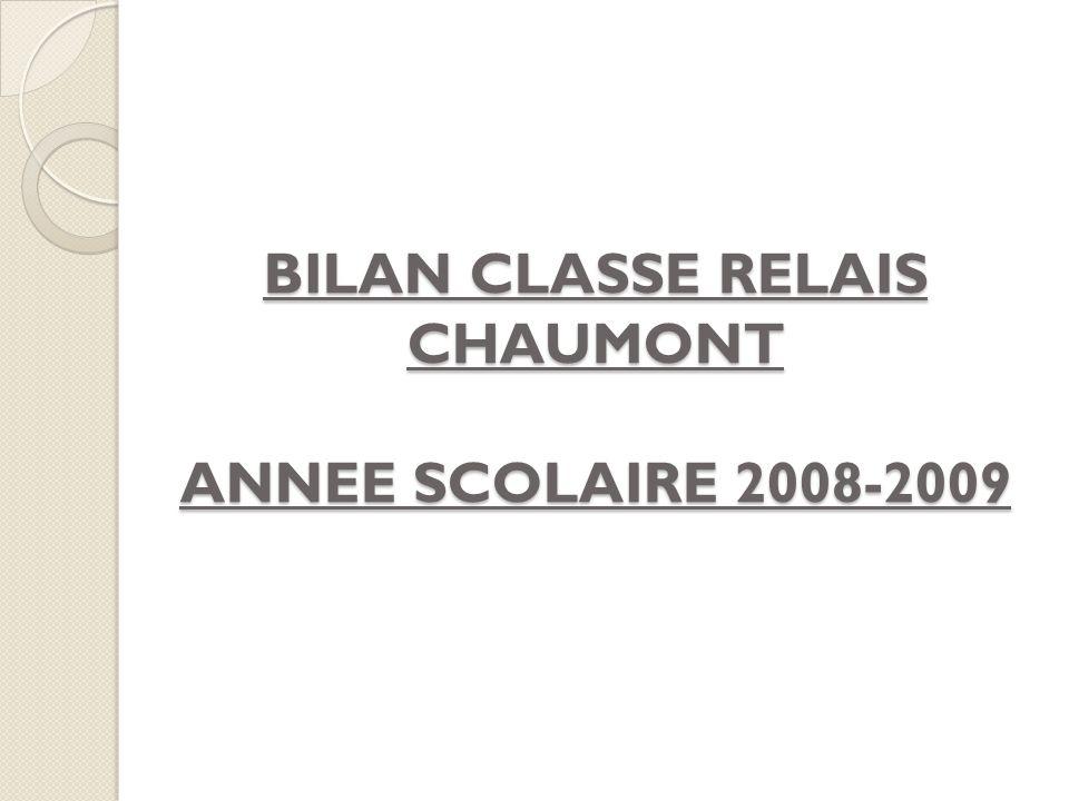 BILAN CLASSE RELAIS CHAUMONT ANNEE SCOLAIRE 2008-2009