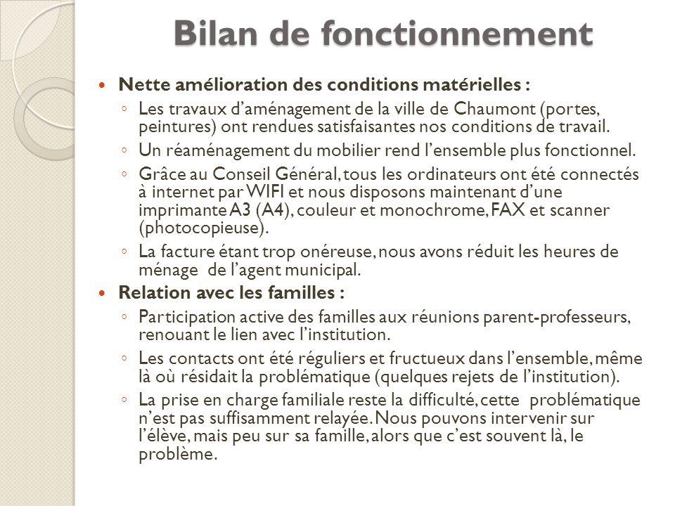 Bilan de fonctionnement Nette amélioration des conditions matérielles : Les travaux daménagement de la ville de Chaumont (portes, peintures) ont rendu