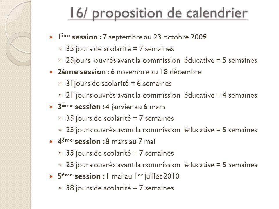 16/ proposition de calendrier 1 ère session : 7 septembre au 23 octobre 2009 35 jours de scolarité = 7 semaines 25jours ouvrés avant la commission édu