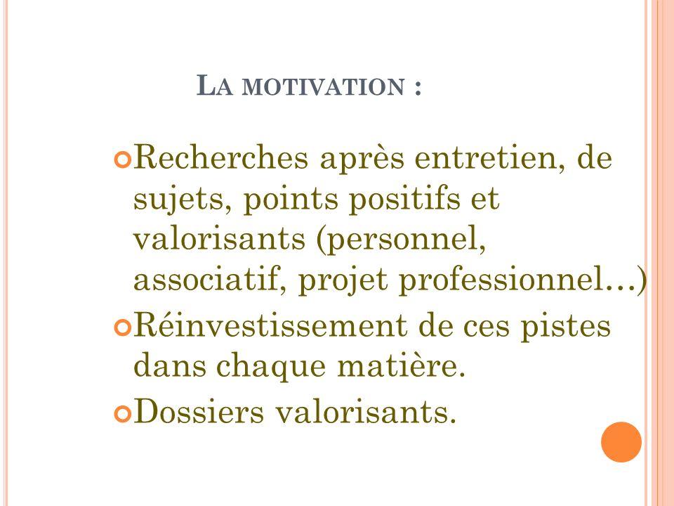 L A MOTIVATION : Recherches après entretien, de sujets, points positifs et valorisants (personnel, associatif, projet professionnel…) Réinvestissement