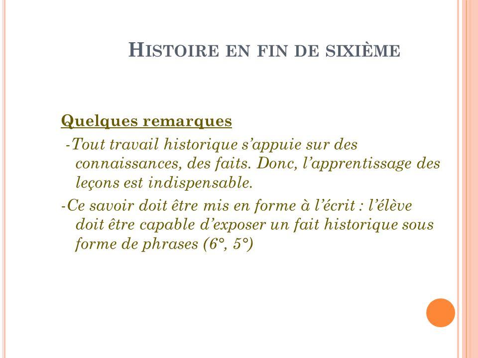 H ISTOIRE EN FIN DE SIXIÈME Quelques remarques - Tout travail historique sappuie sur des connaissances, des faits. Donc, lapprentissage des leçons est