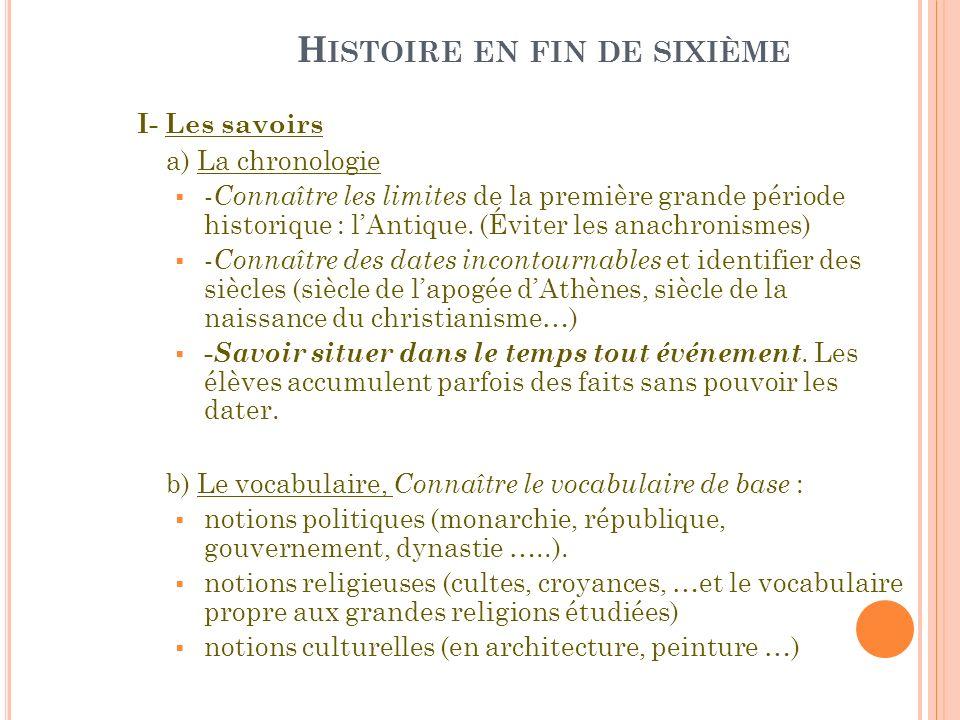 H ISTOIRE EN FIN DE SIXIÈME I- Les savoirs a) La chronologie - Connaître les limites de la première grande période historique : lAntique. (Éviter les