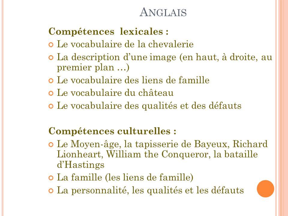 A NGLAIS Compétences lexicales : Le vocabulaire de la chevalerie La description dune image (en haut, à droite, au premier plan …) Le vocabulaire des l
