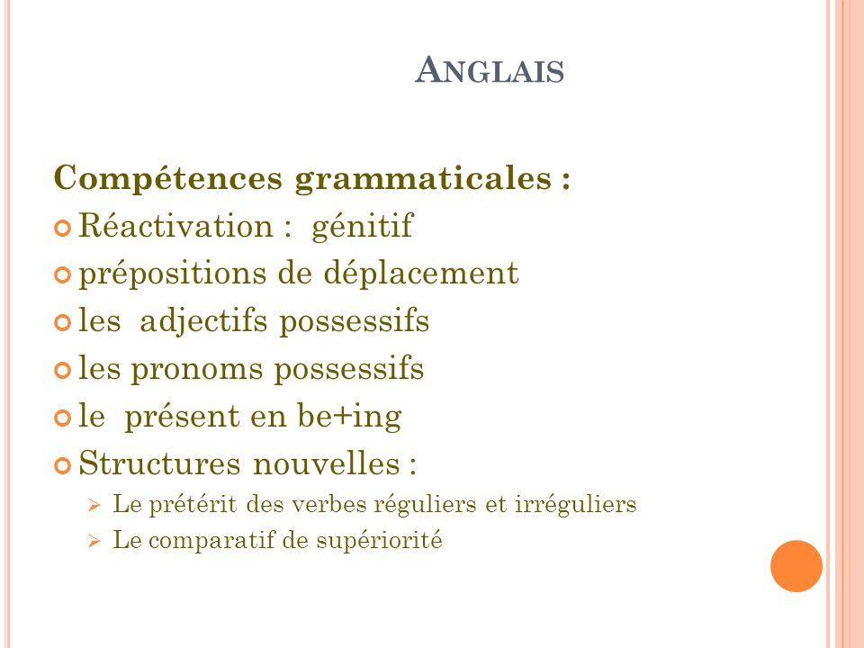 A NGLAIS Compétences grammaticales : Réactivation : génitif prépositions de déplacement les adjectifs possessifs les pronoms possessifs le présent en