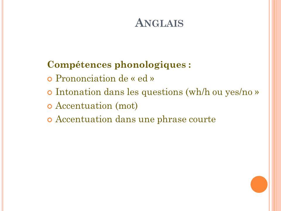 A NGLAIS Compétences phonologiques : Prononciation de « ed » Intonation dans les questions (wh/h ou yes/no » Accentuation (mot) Accentuation dans une