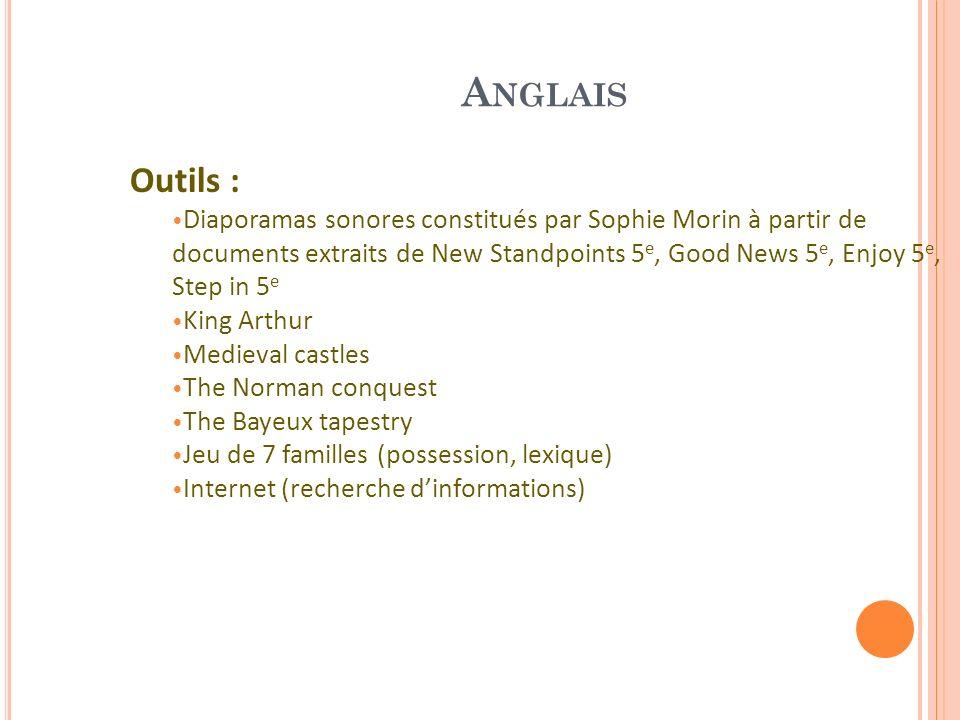 A NGLAIS Outils : Diaporamas sonores constitués par Sophie Morin à partir de documents extraits de New Standpoints 5 e, Good News 5 e, Enjoy 5 e, Step