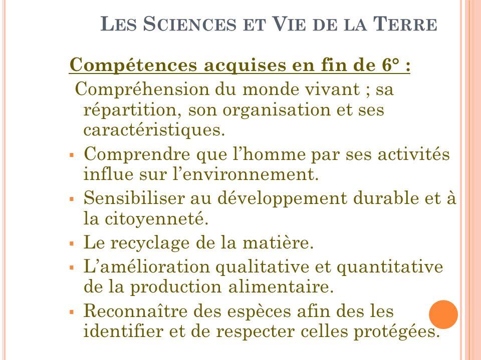 L ES S CIENCES ET V IE DE LA T ERRE Compétences acquises en fin de 6° : Compréhension du monde vivant ; sa répartition, son organisation et ses caract