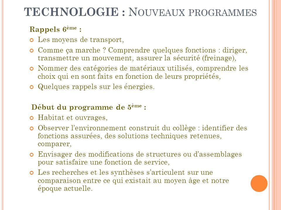 TECHNOLOGIE : N OUVEAUX PROGRAMMES Rappels 6 ème : Les moyens de transport, Comme ça marche ? Comprendre quelques fonctions : diriger, transmettre un