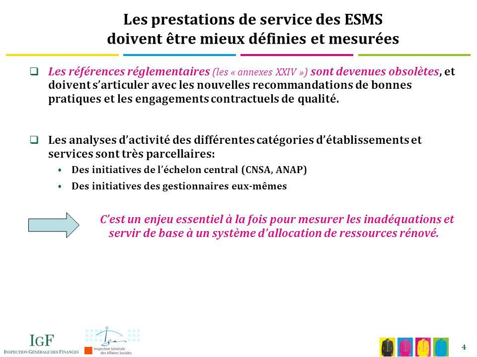 4 Les prestations de service des ESMS doivent être mieux définies et mesurées Les références réglementaires (les « annexes XXIV ») sont devenues obsolètes, et doivent sarticuler avec les nouvelles recommandations de bonnes pratiques et les engagements contractuels de qualité.