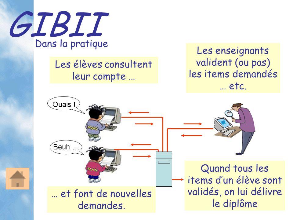 GIBII Dans la pratique Les élèves consultent leur compte … Les enseignants valident (ou pas) les items demandés … etc. Ouais ! Beuh … Quand tous les i