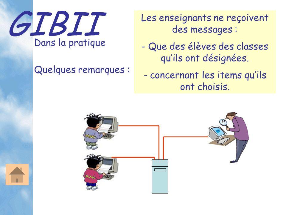 GIBII Dans la pratique Les enseignants ne reçoivent des messages : - Que des élèves des classes quils ont désignées. - concernant les items quils ont