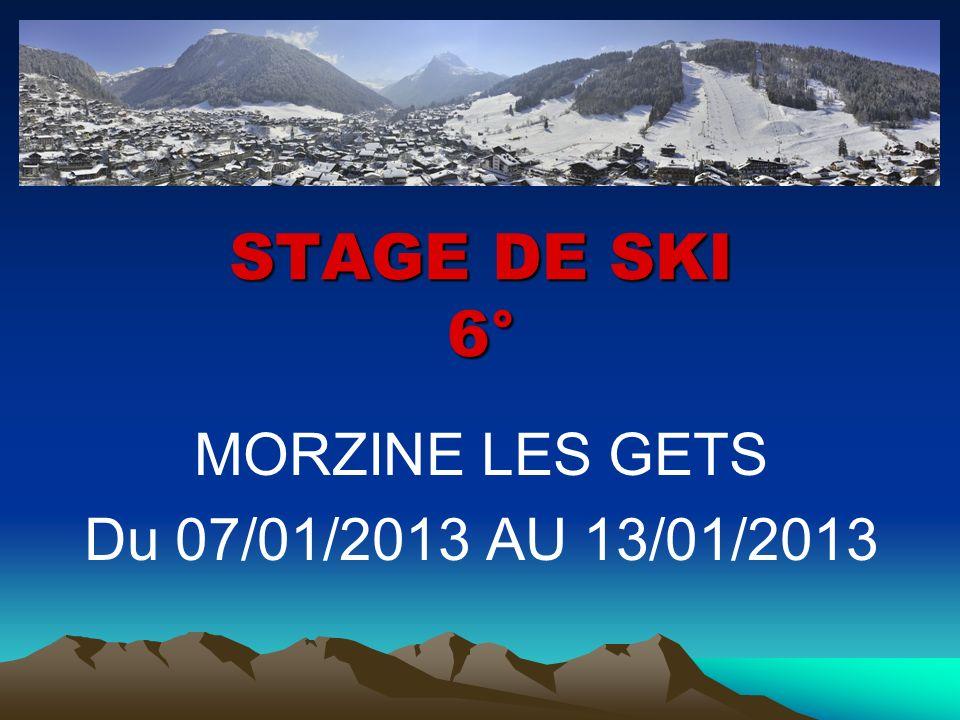 STAGE DE SKI 6° MORZINE LES GETS Du 07/01/2013 AU 13/01/2013
