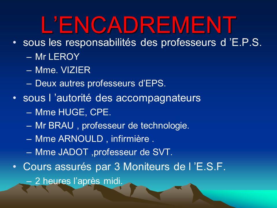 LENCADREMENT sous les responsabilités des professeurs d E.P.S. –Mr LEROY –Mme. VIZIER –Deux autres professeurs dEPS. sous l autorité des accompagnateu