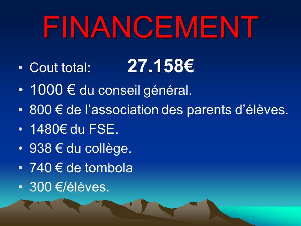 FINANCEMENT Cout total: 27.158 1000 du conseil général. 800 de lassociation des parents délèves. 1480 du FSE. 938 du collège. 740 de tombola 300 /élèv