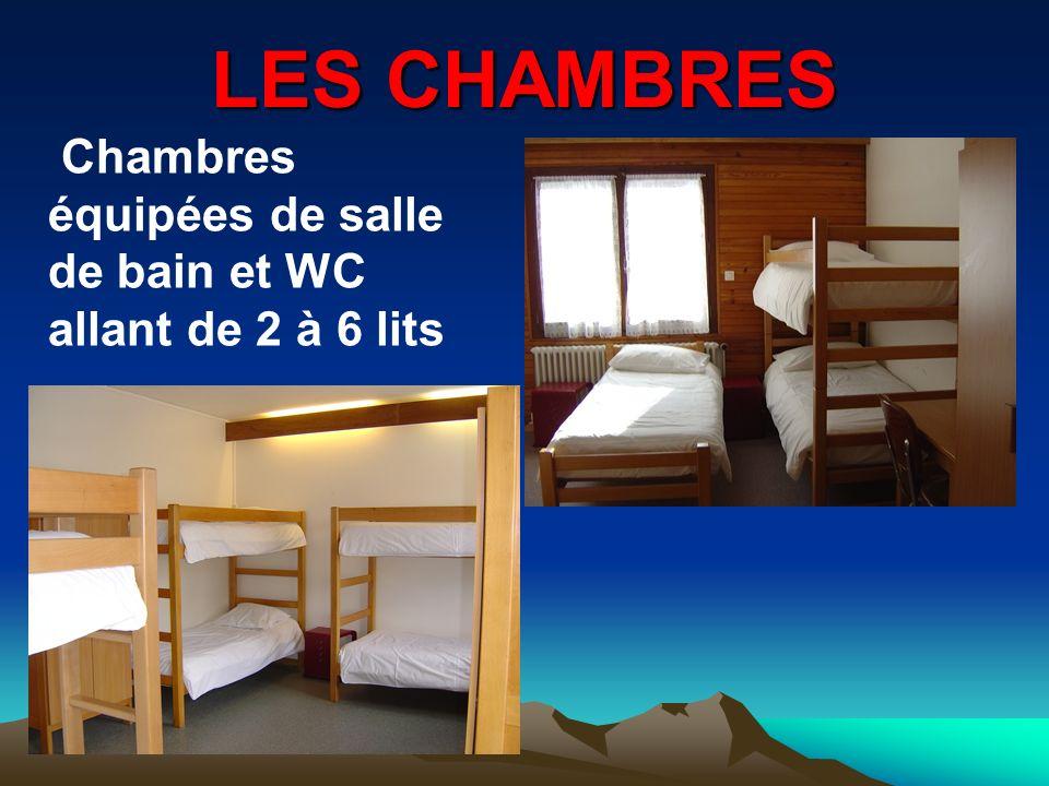 LES CHAMBRES Chambres équipées de salle de bain et WC allant de 2 à 6 lits