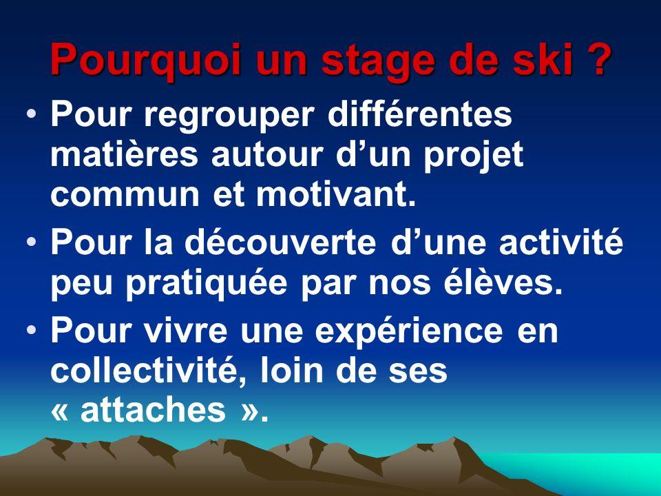 Pourquoi un stage de ski ? Pour regrouper différentes matières autour dun projet commun et motivant. Pour la découverte dune activité peu pratiquée pa