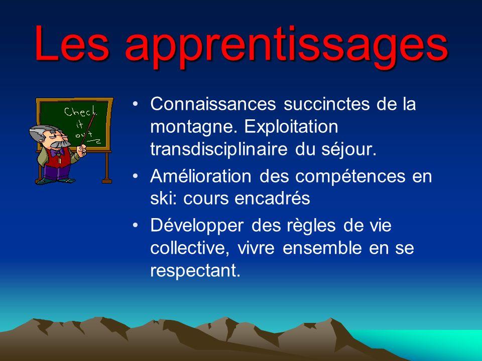 Les apprentissages Connaissances succinctes de la montagne. Exploitation transdisciplinaire du séjour. Amélioration des compétences en ski: cours enca
