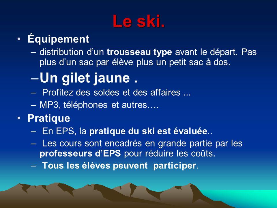 Le ski. Équipement –distribution dun trousseau type avant le départ. Pas plus dun sac par élève plus un petit sac à dos. –Un gilet jaune. – Profitez d