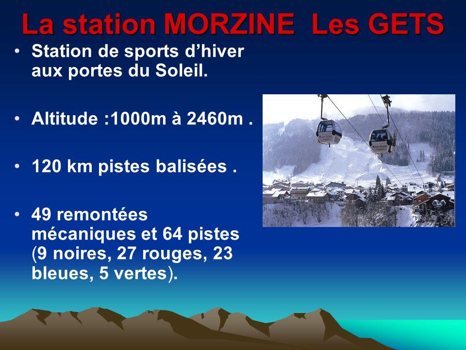 La station MORZINE Les GETS Station de sports dhiver aux portes du Soleil. Altitude :1000m à 2460m. 120 km pistes balisées. 49 remontées mécaniques et
