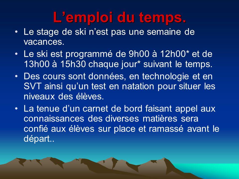 Lemploi du temps. Le stage de ski nest pas une semaine de vacances. Le ski est programmé de 9h00 à 12h00* et de 13h00 à 15h30 chaque jour* suivant le