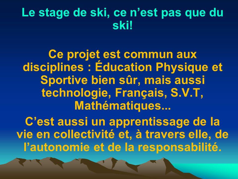 Le stage de ski, ce nest pas que du ski! Ce projet est commun aux disciplines : Éducation Physique et Sportive bien sûr, mais aussi technologie, Franç