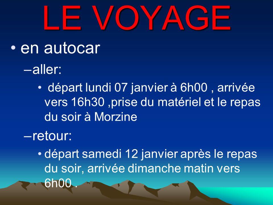 LE VOYAGE en autocar –aller: départ lundi 07 janvier à 6h00, arrivée vers 16h30,prise du matériel et le repas du soir à Morzine –retour: départ samedi
