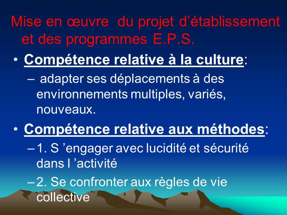 Mise en œuvre du projet détablissement et des programmes E.P.S. Compétence relative à la culture: – adapter ses déplacements à des environnements mult