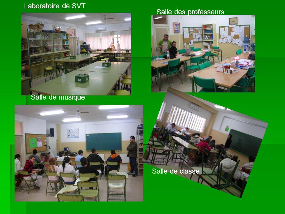 Salle des professeurs Laboratoire de SVT Salle de musique Salle de classe
