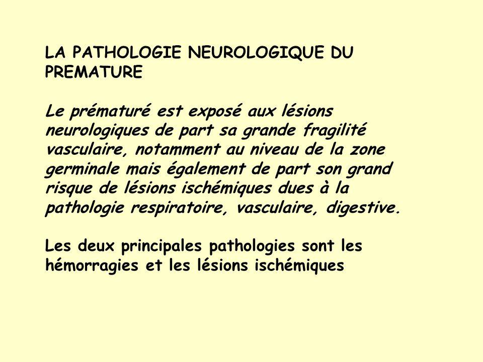 LA PATHOLOGIE NEUROLOGIQUE DU PREMATURE Le prématuré est exposé aux lésions neurologiques de part sa grande fragilité vasculaire, notamment au niveau de la zone germinale mais également de part son grand risque de lésions ischémiques dues à la pathologie respiratoire, vasculaire, digestive.