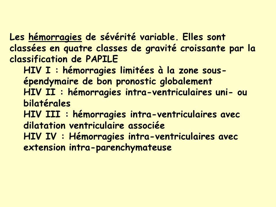 Les hémorragies de sévérité variable.