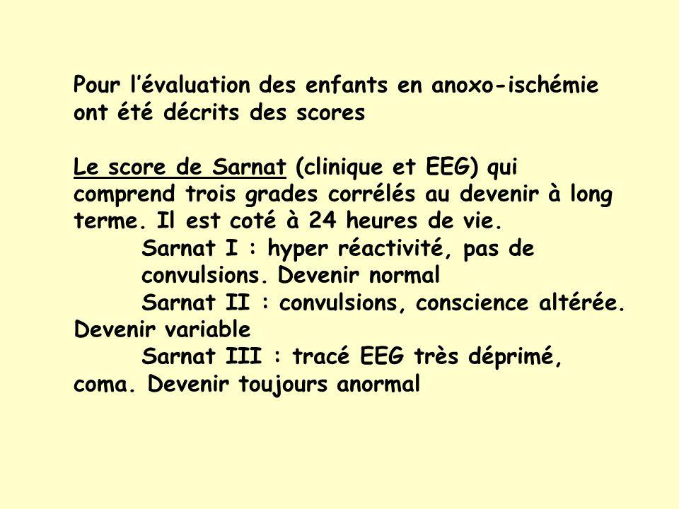 Pour lévaluation des enfants en anoxo-ischémie ont été décrits des scores Le score de Sarnat (clinique et EEG) qui comprend trois grades corrélés au devenir à long terme.