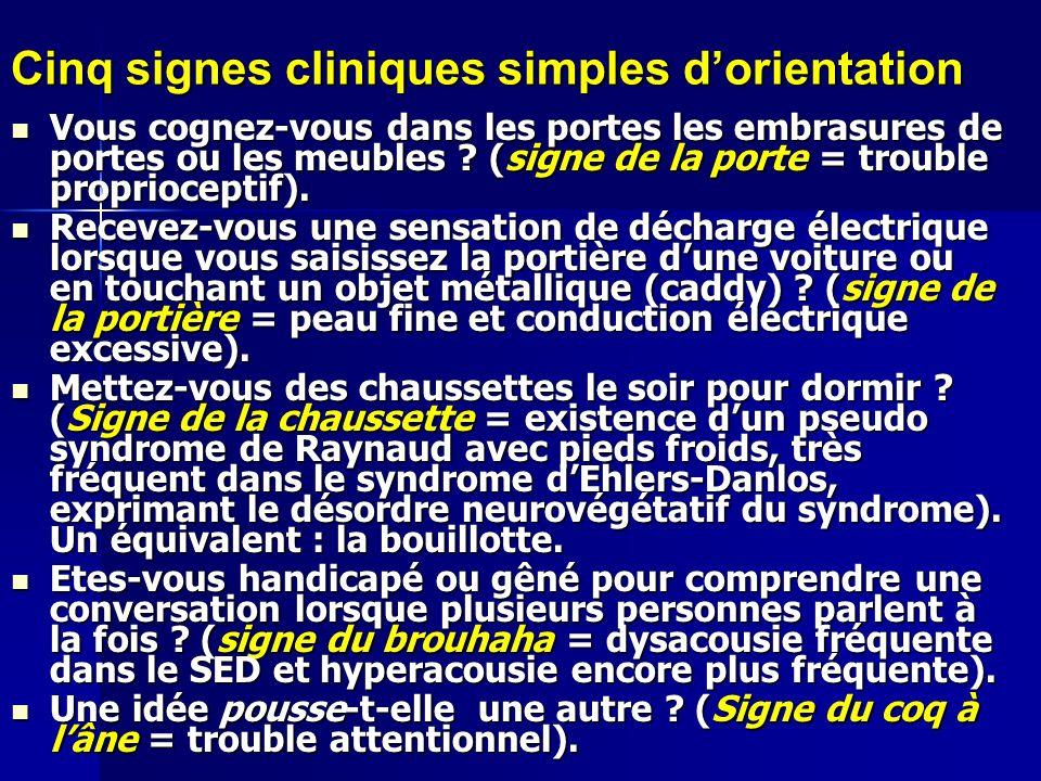 Cinq signes cliniques simples dorientation Vous cognez-vous dans les portes les embrasures de portes ou les meubles ? (signe de la porte = trouble pro