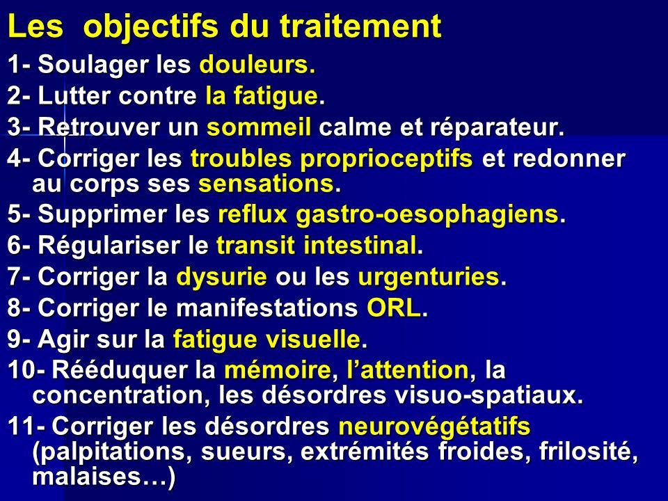 Les objectifs du traitement 1- Soulager les douleurs. 2- Lutter contre la fatigue. 3- Retrouver un sommeil calme et réparateur. 4- Corriger les troubl