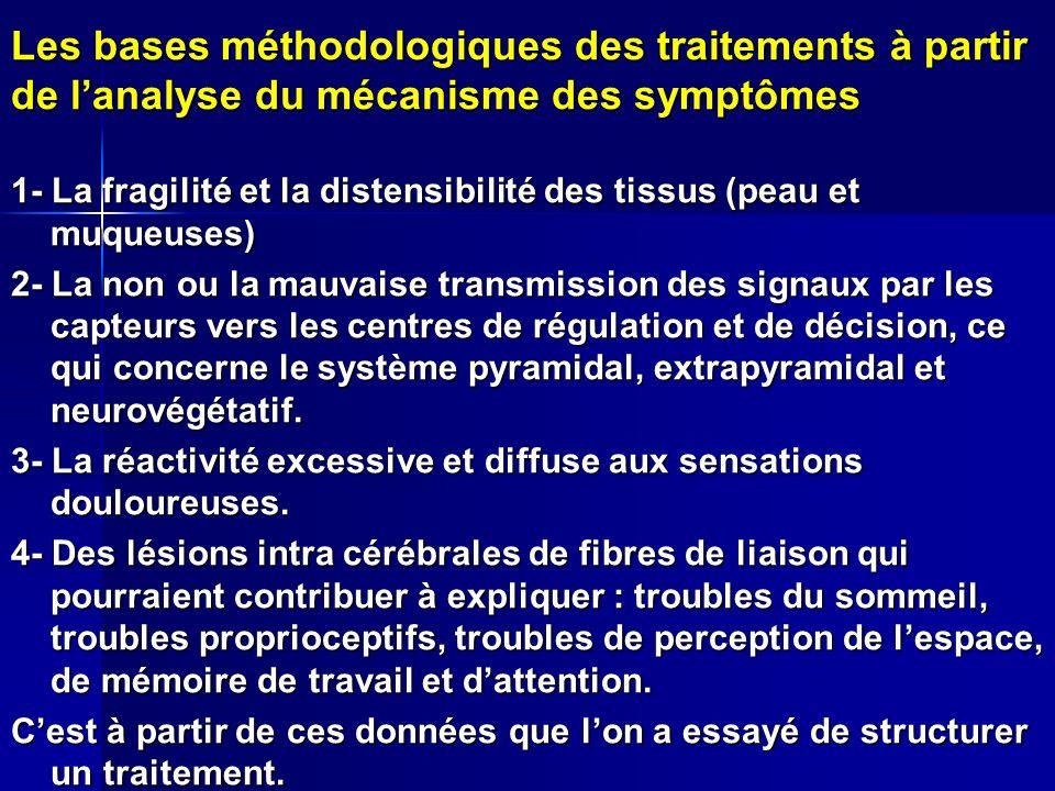 Les bases méthodologiques des traitements à partir de lanalyse du mécanisme des symptômes 1- La fragilité et la distensibilité des tissus (peau et muq