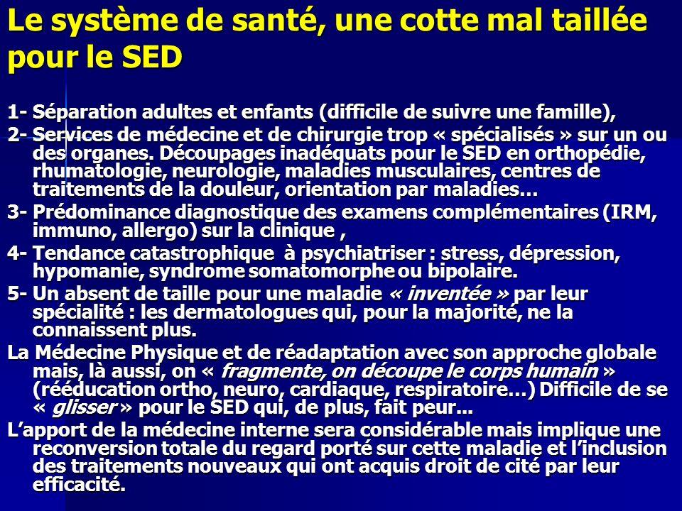 Le système de santé, une cotte mal taillée pour le SED 1- Séparation adultes et enfants (difficile de suivre une famille), 2- Services de médecine et