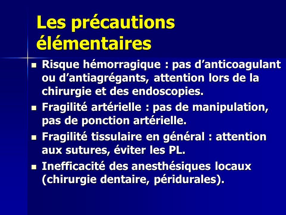 Les précautions élémentaires Risque hémorragique : pas danticoagulant ou dantiagrégants, attention lors de la chirurgie et des endoscopies. Risque hém