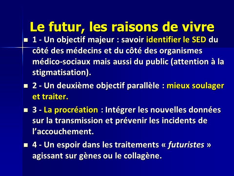 Le futur, les raisons de vivre 1 - Un objectif majeur : savoir identifier le SED du côté des médecins et du côté des organismes médico-sociaux mais aussi du public (attention à la stigmatisation).