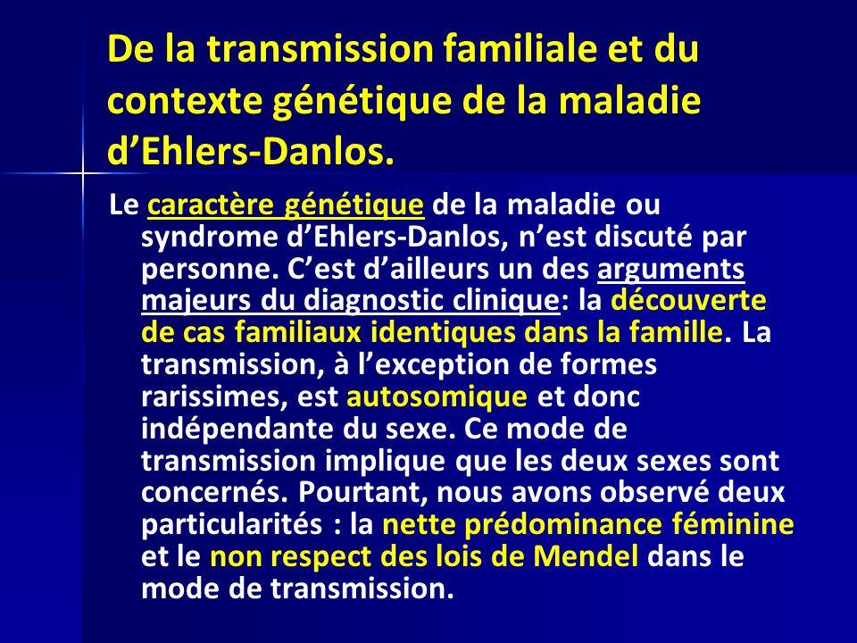 De la transmission familiale et du contexte génétique de la maladie dEhlers-Danlos. Le caractère génétique de la maladie ou syndrome dEhlers-Danlos, n