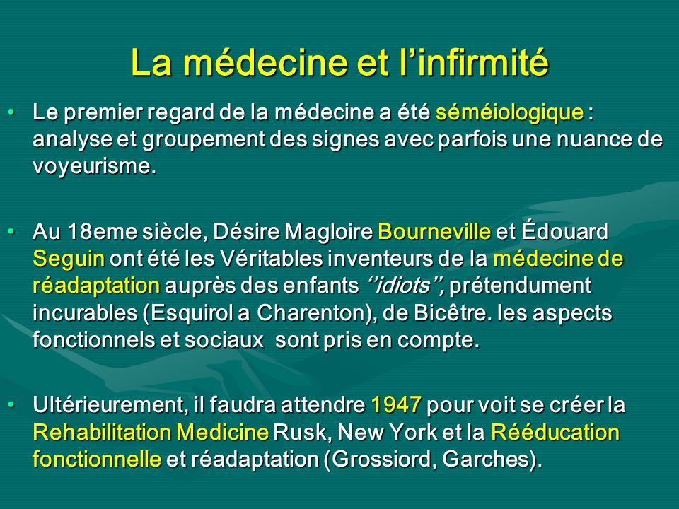 La médecine et linfirmité Le premier regard de la médecine a été séméiologique : analyse et groupement des signes avec parfois une nuance de voyeurism