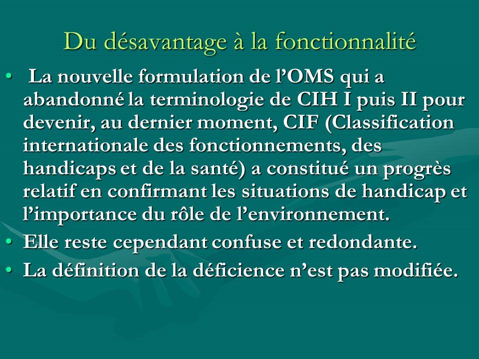Du désavantage à la fonctionnalité La nouvelle formulation de lOMS qui a abandonné la terminologie de CIH I puis II pour devenir, au dernier moment, C