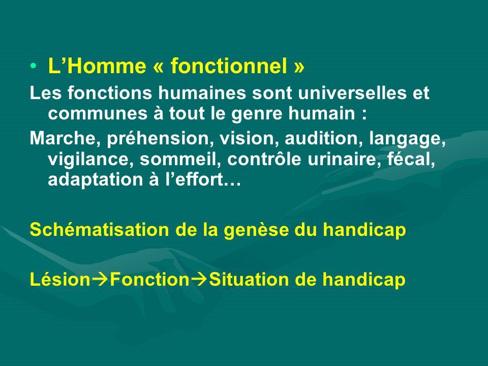 LHomme « fonctionnel » Les fonctions humaines sont universelles et communes à tout le genre humain : Marche, préhension, vision, audition, langage, vi