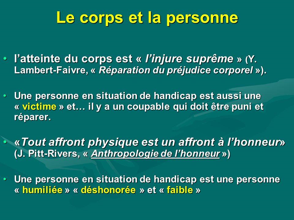 Le corps et la personne latteinte du corps est « linjure suprême » ( Y. Lambert-Faivre, « Réparation du préjudice corporel »).latteinte du corps est «