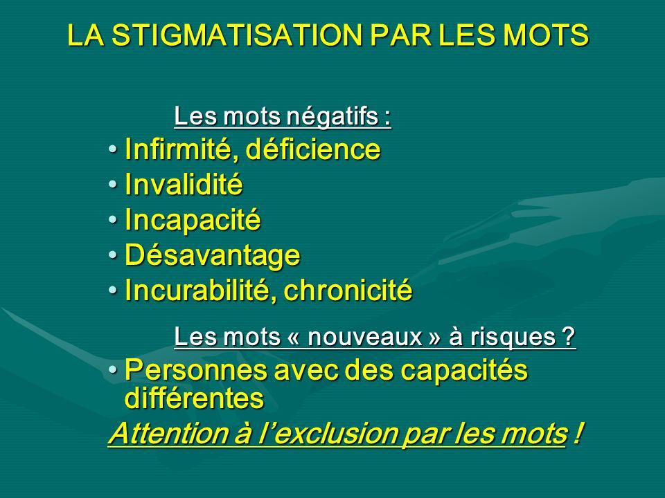 LA STIGMATISATION PAR LES MOTS Les mots négatifs : Infirmité, déficienceInfirmité, déficience InvaliditéInvalidité IncapacitéIncapacité DésavantageDés