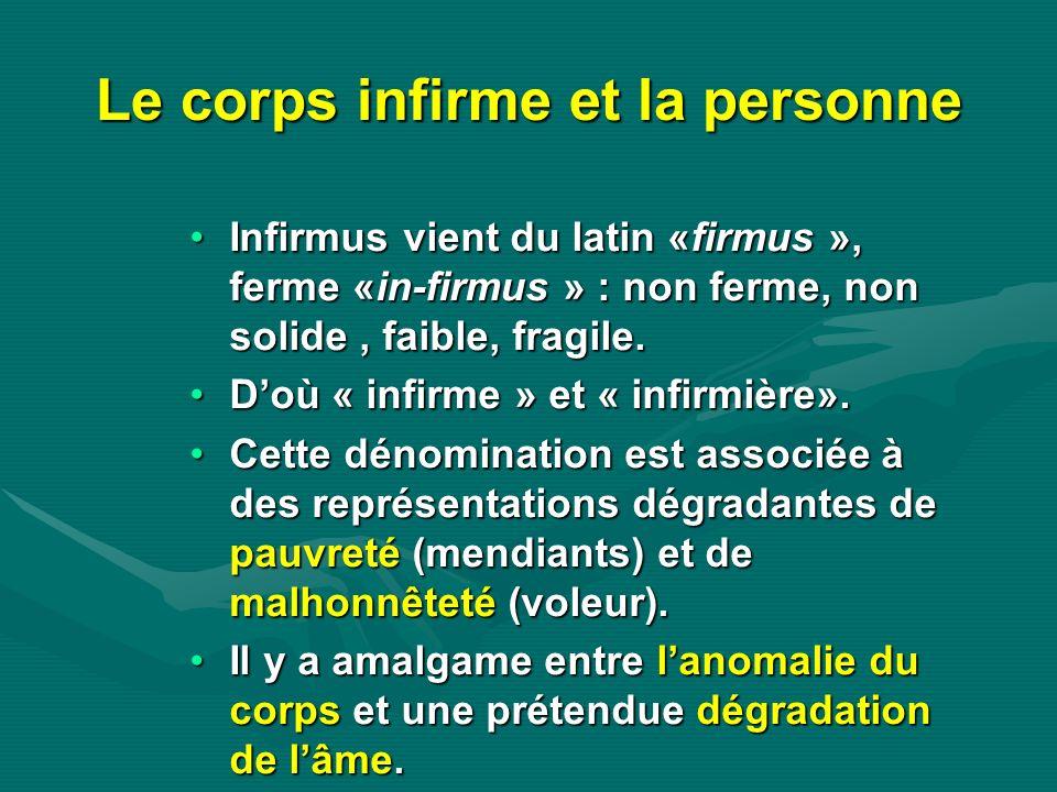 Le corps infirme et la personne Infirmus vient du latin «firmus », ferme «in-firmus » : non ferme, non solide, faible, fragile.Infirmus vient du latin