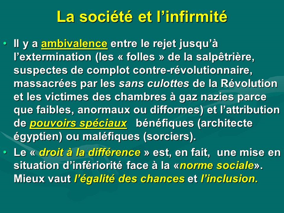 La société et linfirmité Il y a ambivalence entre le rejet jusquà lextermination (les « folles » de la salpêtrière, suspectes de complot contre-révolu